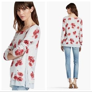 LUCKY BRAND Open Floral Gray Red Sweater Chic M